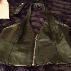 Black leather halter top wilson leather